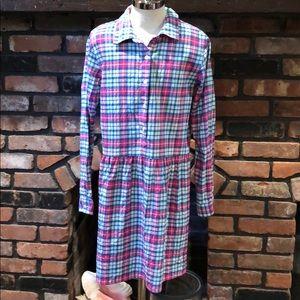 Vineyard Vines Girls flannel plaid  dress size 14